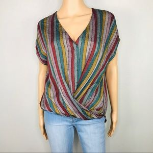 Mustard Seed striped front roll hem top